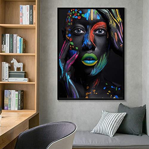 SADHAF Creative Schwarzweiß-Gesichts-Make-up Weibliche Fantasie Aquarell Poster Leinwanddruck Home Decoration A1 30x40cm