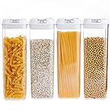 GUOXIANG 4 recipientes de plástico con tapa cuadrada, para cereales, harina, azúcar, sin BPA, herméticos, fáciles de enganchar
