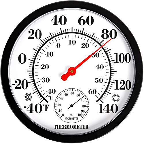 MIKSUS 10 Premium Decorative Wall Thermometer-Hygrometer Indoor Outdoor (Upgraded Accuracy and Design) No Battery Needed