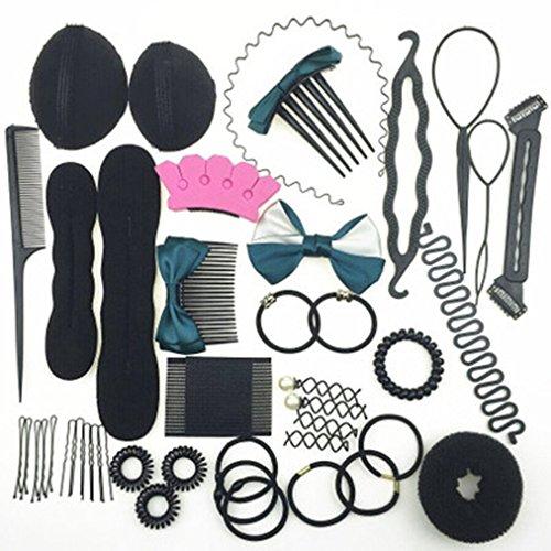 Cuhair Mélange 35pcs DIY Outil de cheveux style Barrettes pince à cheveux Cravate élastique accessoires pour cheveux
