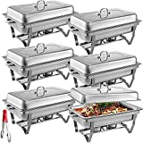 Mophorn 6 Packs Stainless Steel Chafing Dishes 8 Quart Full Size Pan Rectangular Chafer Complete Set