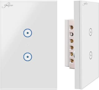 Jinvoo WiFi smart wall touch light switch, smart phone remote control, compatible with iOS and Android, with Alexa Echo and Google Assistant, ETL certified?2 gang?