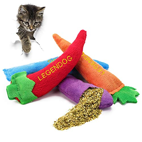 Legendog 4PCS Catnip Toys for Cats, Original 100% Catnip Filled Kitten Toys, Cute Cat Toys Set