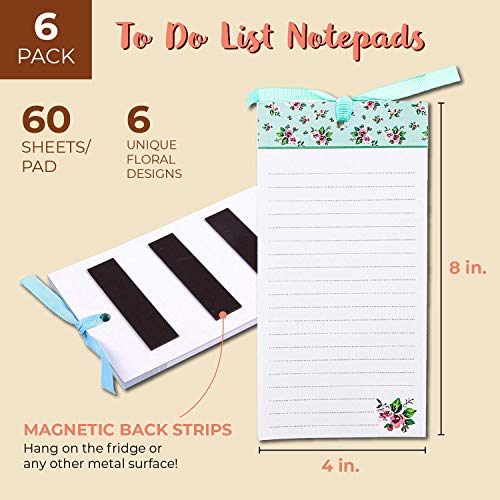 To-Do-List Notepad – 6-Pack Magnetic Notepads, Fridge Grocery List Magnet Memo Pad for Shopping, To Do List, Reminders, House Chores, Assorted Flower Designs, 60 Sheets Per Pad, 4 x 8 Inches
