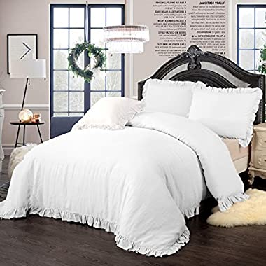 Simple&Opulence 100% Stone Washed Linen Frill Floral Flax Duvet Cover Set (Queen, White)