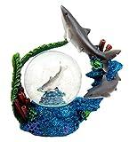 "Atlantic Collectibles Coastal Apex Predator Shark Family Water Globe Figurine 4"" H"