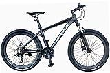 SPEAR (スペア) マウンテンバイク アルミフレーム シマノ製21段変速 SPM-2621 ディレラー Tourney(ターニー) 適用身長160cm以上 1年保証 男性 女性 初心者 (マットブラック)