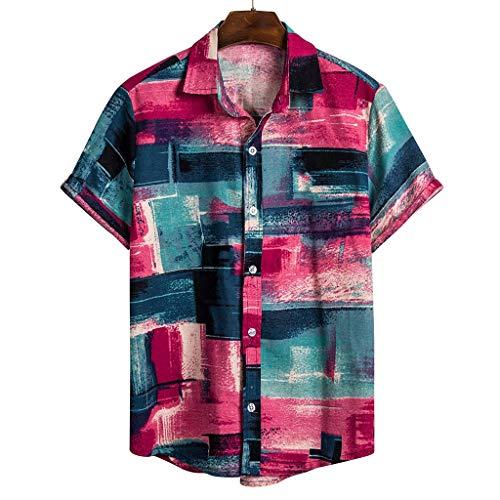 Xmiral Herren Poloshirt Kurzarm Gedruckte Sommer T-Shirt Men's Persönlichkeit T-Shirt Tops mit Polokragen praktischem(A Rot,L)