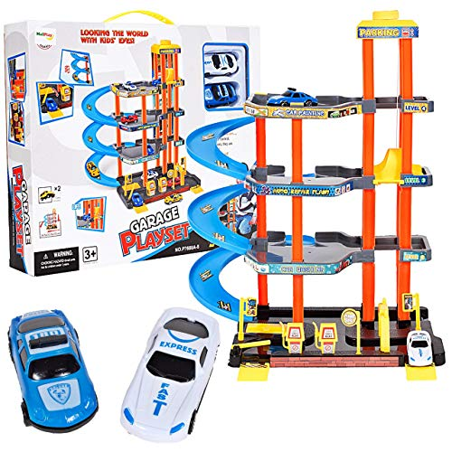 MalPlay Parkplatz Parkhaus mit 2 Spielzeugautos   mit 4 Spielebenen und Zubehör   ab 3 Jahren   Rollenspiel Geschenk Geburtstagsgeschenk für Kinder