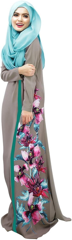 INCO Muslim Women Long Sleeve Calico Maxi Dress
