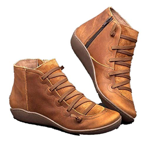Taore Arch Support Shoes for Women with Side Zipper Flat Black Ankle Booties Waterproof Leather Boots Lace up Short Boots …