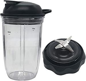 Juicer personal jar 18ozcup with to go lid with Blender Combo Easy Twist Extractor Blade, Compatible with NutriBullet Blender Combo/PRO 1000/ Select Blender (3, 1pcs18oz cup+1pcs Llid+1pcs Blade)