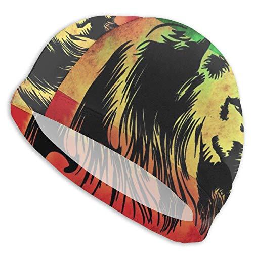 HFHY Reggae Lion Jamaican Flag Lycra Swim Cap Comfortable Fit Swimming Bonnets Bathing and Shower Hair Cover Protection de l'oreille pour les cheveux longs et les cheveux épais et les cheveux bouclés,
