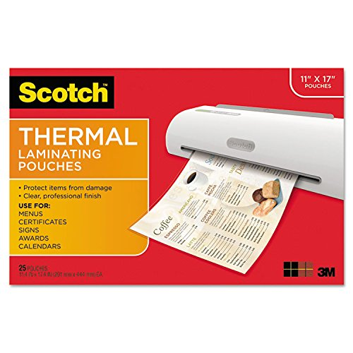 3M Scotch TP385625 Menu Size Thermal Laminating Pouches, 3 mil, 17 1/2 x 11 1/2, 25 per Pack