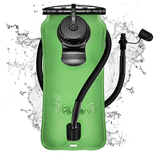 OMORC 3L Hydration Bladder, 3 Liter Leakproof Water Bladder, BPA-Free Water Reservoir with Insulated Tube, Auto Shut Off Valve for Hiking Cycling Camping Running, Fit Most Hydration Backpacks,Green
