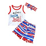 My First 4th of July Baby Boy Girl Outfit Vest Top + American Flag Stars and Stripes Pants Independence Day Patriotic Clothes(White, 2-3T)
