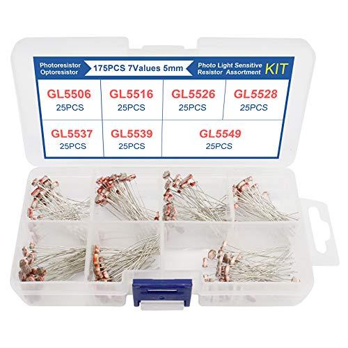 ZHITING 175-teiliges lichtempfindliches Mini-Inline-Widerstands-Kit Kleines, lichtempfindliches Multispezifikations-Widerstandssortiment mit Mehreren Spezifikationen