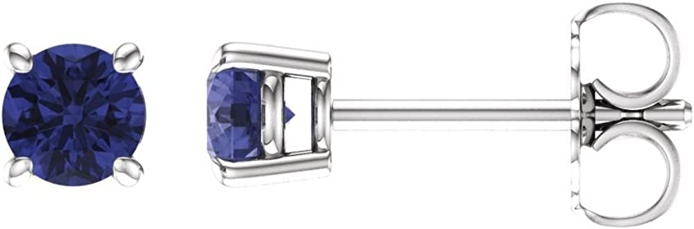 Jewels By Lux Set 14k White Gold Genuine Tanzanite 4 mm Friction Pair Polished Tanzanite Earrings With Backs