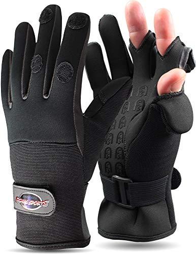 normani Anglerhandschuhe aus Neopren mit umklappbaren Fingerkuppen und Silikon-Innenseite Farbe Schwarz Größe M