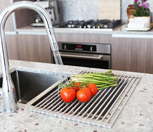 Roll Up Sink Drying Rack by MagnaLecta – Multipurpose Over the Sink Silicone Coated Stainless Steel Self Draining Roll-Up Dish Rack Holder, Heat Resistant, Easily Adjustable(Warm Gray,Large) (1)