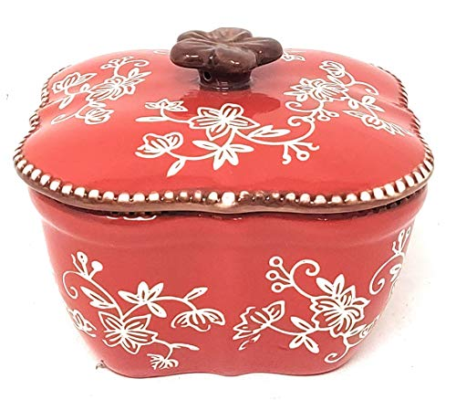 Temp-tations Sculpted 16oz Texas Ramekin w/Stoneware Lid, Single Serving, Muffin, Cupcake (Floral Lace Red)