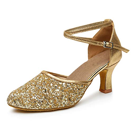 iCKER GetMine Womens Latin Dance Shoes Heeled Ballroom Salsa Tango Party Sequin Dance Shoes Gold 7.5