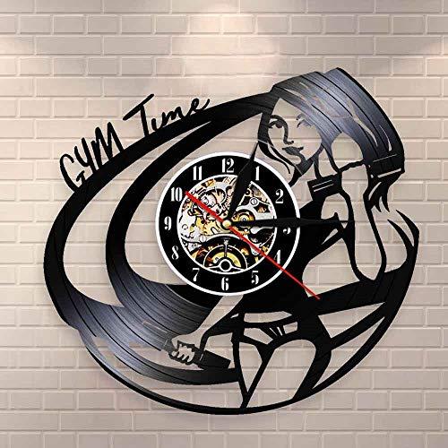 Regalos para Hombres Sala de Fitness Decoración de Pared Reloj Deportes Chica Culturismo Reloj de Pared Motivación Cita Tiempo Vinilo Música Disco