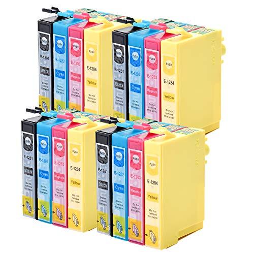 Caidi - Cartuchos de tinta compatibles con Epson T1281 T1282 T1283 T1284 para Epson Stylus SX235W SX445W SX425W SX130 SX230 SX420W SX125 (4 negro, 4 cian, 4 magenta y amarillo