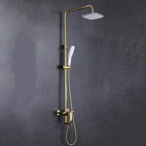 Alambre de metal de cobre dibujo de oro blanco baño ducha conjunto la palanca de elevación 3 funciones ducha mano sistema de sobrecarga con tapa cuadrada grifo rociador hermoso práctico