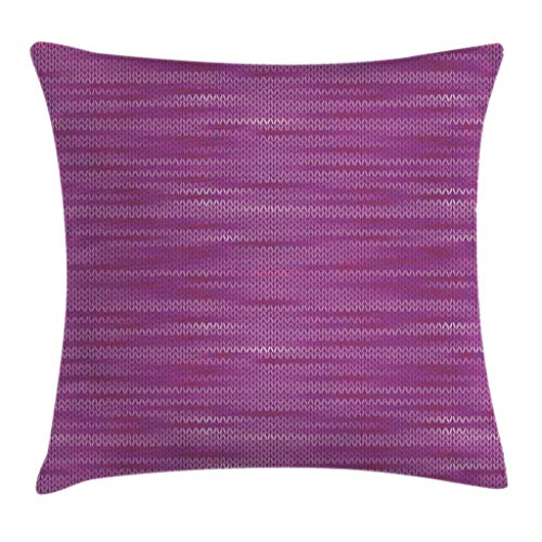 Ambesonne Magenta Throw Pillow Cushion Cover, Gradient Old Aged Knit Pattern Creative Melange Wool Textured Nostalgic Art, Decorative Square Accent Pillow Case, 18' X 18', Pink Purple