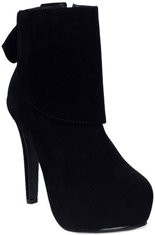 Ladola Womens Zip Platform Bows Round-Toe Waterproof Urethane Boots