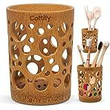 Vaso Premium Cepillo Dientes de Bambú - Organizador Cepillos de Dientes con Agujeros   Soporte Secado Rápido   Pasta de Dientes Brochas Maquillaje   Portacepillos de Dientes   Swiss Cheese décor