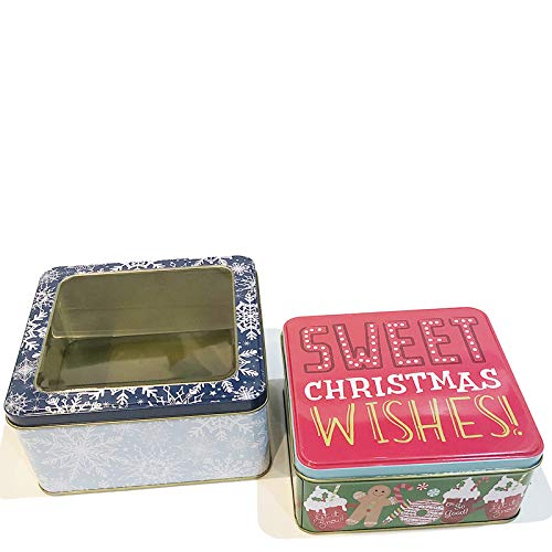 Christmas Cookie Tins with Lids for Gift Giving Empty Candy Snack Box Pastry Treat Swap Metal Square Containers for Goodies, Chocolate, Nuts, Cerebrate a Holiday 2 Pack Sweet Wishes Red and Snowflake