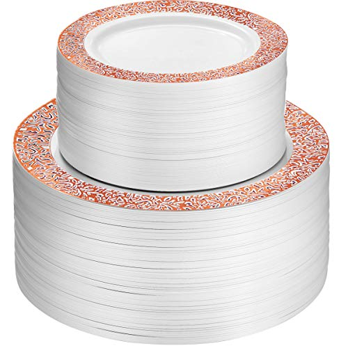 100 Piece Plastic Party Plates White with Rose Gold Lace Design 50 Premium Heavy Duty 10.25 Inch Dinner Plates and 50 Disposable 7.5 Inch Dessert Appetizer Elegant Fancy Heavy Duty Wedding Plates