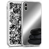 kwmobile Funda Compatible con Apple iPhone X - Carcasa Protectora Trasera de TPU para móvil en Plateado con Efecto Espejo