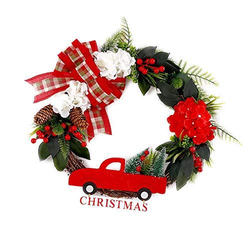 TONINI Colgando Puerta de la camioneta roja Corona de Navidad Ventana Delantera Pared de la decoración de Navidad Decoración Puntales 17.7inch