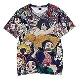 Anime Demon Slayer Camiseta Unisex Cosplay Ocio Algodón Camisetas de Manga Corta-A_120