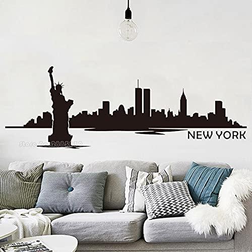 New York City Skyline Landmark Building Rascacielos Estatua de la Libertad Vinilo Etiqueta de la pared Calcomanía Dormitorio Sala de estar Oficina Estudio Decoración para el hogar Mural