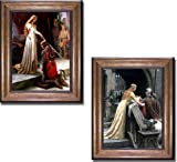 Artistic Home Gallery The Accolade & Godspeed by Edmund Leighton 2-pc Premium Bronze Gold Framed Canvas Set (Ready-to-Hang)