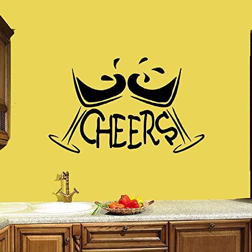 JXWH Sticker, motief: Martini Cheers Bar, decoratie voor binnen, koffie, dranken, vinyl, stickers voor glas, afneembare letters