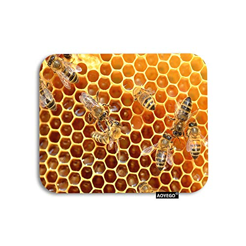 AOYEGO Bee Mouse Pad Hardworking Bees On Honeycomb in Apiary Sweet Honey Gaming Mousepad Rubber Large Pad Non-Slip for Computer Laptop Office Work Desk 9.5x7.9 Inch
