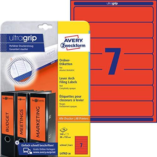Avery Zweckform L4762-20 Ordnerrücken Etiketten (A4, 140 Rückenschilder, schmal/kurz, 38 x 192 mm) 20 Blatt, rot