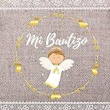 Libro de firmas bautizo: Libro de recuerdos y huellas para invitados personalizado - Idea de regalo o detalle para el bautizo de niña o niño. Español