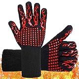 Guantes Barbacoa Guantes Ignifugos Resistentes al Calor hasta 500 ° C Oven Gloves Guantes de Cocina de Silicona Antideslizantes BBQ Gloves,para Horno,Barbacoa,Cocinar,Guantes Chimenea (Rojo)