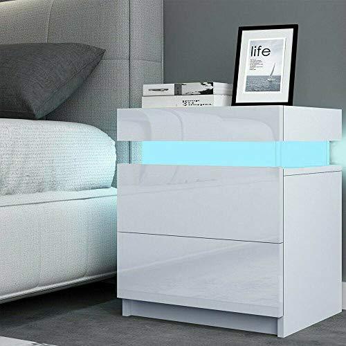 TUKAILAI - Mesita de Noche con 2 cajones y luz LED de Alto Brillo con cajón, mesita de Noche para Dormitorio, Sala de Estar, Blanco, 45x35x52cm