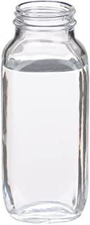 Wheaton W216902 French Square Bottle, Clear Glass, Capacity 16oz Without 48-400 White Polypropylene Poly-Vinyl Lined Screw Cap, Diameter 68mm x 167mm (Case Of 40)