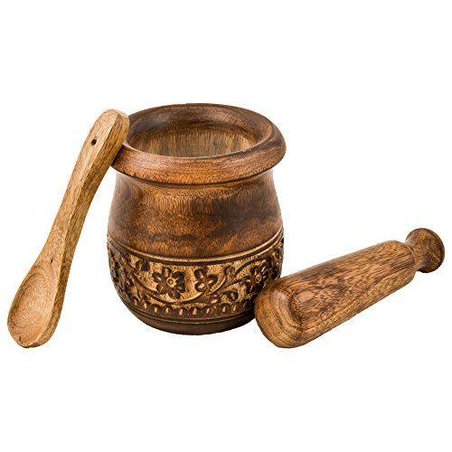 Mothers Day Gifts - GoCraft Wooden Engraved Mortar and Pestle Grinder for Herbs, Spices and Kitchen Usage, Natural Mango Wood Engraved | Handmade Mortar and Pestle - 3.5 in