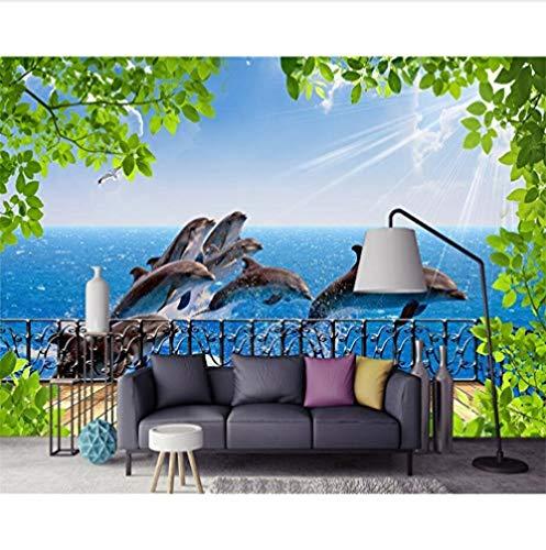 Moderne tv-wand 3D achtergrond beeldscherm achtergrond 3D zee balkon zee dolfijn foto achtergrond achtergrond (W)430x(H)300cm (W)430x(h)300cm