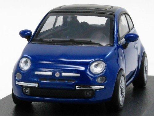 Minichamps 640121704 - Fiat 500 Azul Metalizado 2007 - Escala 1/64 - Vehiculo en Miniatura