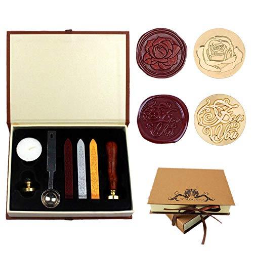 Dsaren Siegelstempel Set Vintage Wachssiegel Stempel mit 2 Messing Siegel Stempel Siegelwachs Löffel Personalisierte Geschenkset (Für dich + Rose)